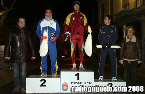 El podio con Agustín Ruiz, ganador absoluto de la prueba.
