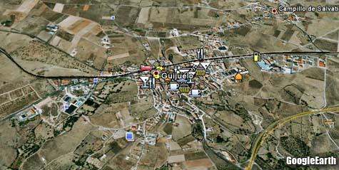 Imagen de Guijuelo en el programa Google Earth