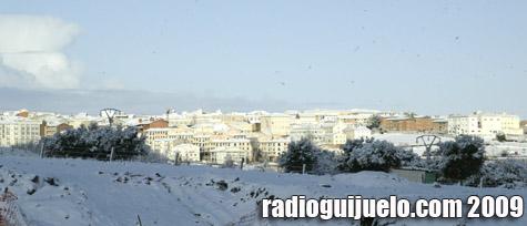 Panorámica de Guijuelo tras la nevada