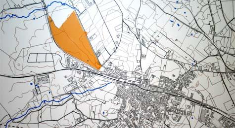 Plano de Guijuelo con la zona a urbanizar en color naranja