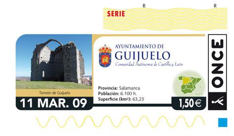 Diseño del cupón de la ONCE con la fotografía del Torreón guijuelense