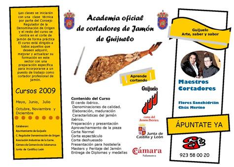 Cartel anunciador de la Academia de Cortadores de Jamón