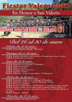 Programa de fiestas de Valero.