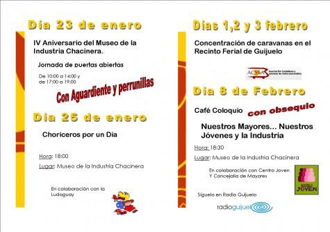 Programa de actividades del IV aniversario del Museo de la Industria Chacinera.
