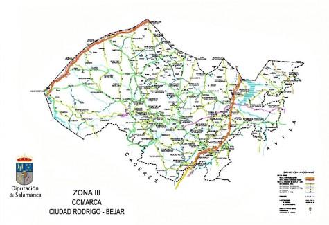 Mapa de las carreteras de la zona de la comarca Ciudad Rodrigo-Béjar. Mapa Diputación de Salamanca
