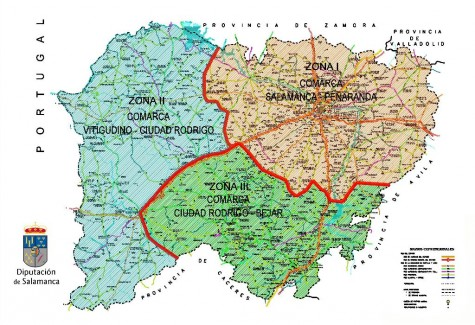 Mapa de las carreteras de la provincia de Salamanca. Mapa Diputación de Salamanca