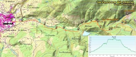 Mapa Chorrera Hervás. Mapa Masqueandar.es