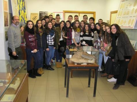 Alumnos del IES Vía de la Plata en su vista a la Sala de las Tortugas. Foto Crónica de Salamanca.