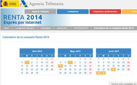Calendario de la Campaña Renta 2014.