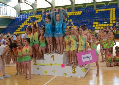 Podium en Gimnasia Rítmica. Foto salamancartv.