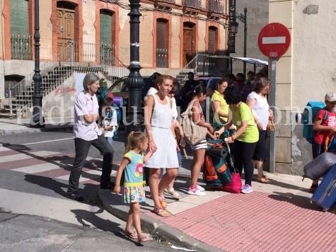 Un momento de la salida del autobús.