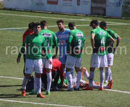 Momento de la lesión de Antonio Moreno el pasado jueves.