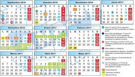 Calendario curso 2016-2017. Fuente ANPE.