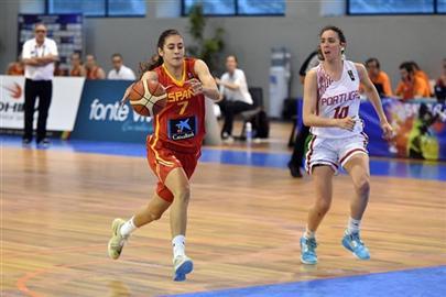 Partido entre la Selección U20 de España y Portugal. Foto FIBA.