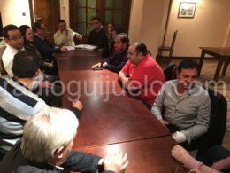 Directivos del C.D. Guijuelo en la reunión de ayer.