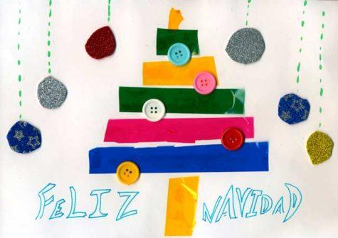 Postal de Leticia López, tercera en el concurso infantil  de postales navideñas.