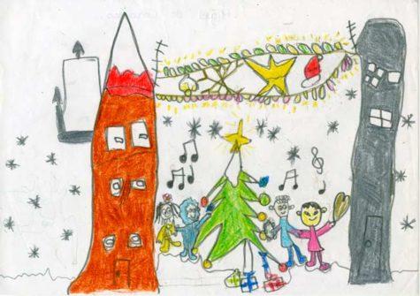 Postal de Mauro Unax, segundo en el concurso infantil  de postales navideñas
