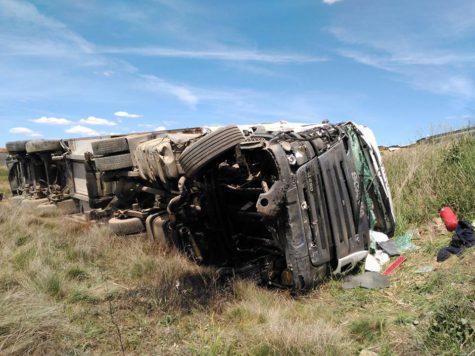 Accidente en la A-66. Foto Bomberos Guijuelo