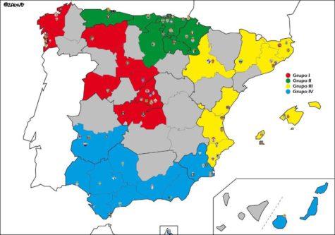 Mapa de los grupos de la Segunda B. Foto: @2ADIVB.