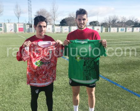 Cristóbal Gil y Pablo Espina en el día de su presentación con la camiseta del C.D. Guijuelo