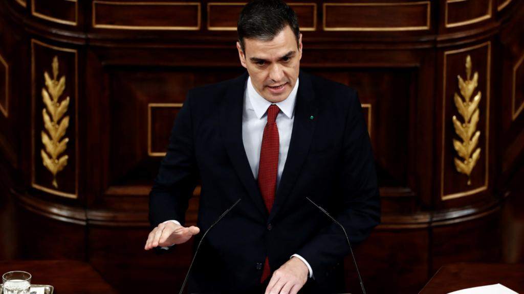 Pedro Sánchez en su intervención en el Congreso. Foto RTVE.